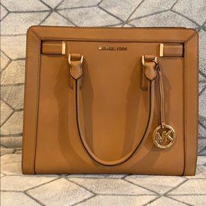 michael kors tan satchel w/ adjustable long strap